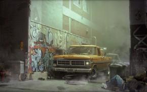 Картинка Ford, Авто, Машина, Улица, Граффити, Пикап, Street, Transport & Vehicles, James O'Brien, New York street, …