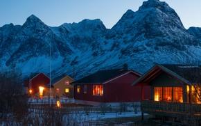 Картинка зима, снег, горы, огни, дома, вечер, Норвегия, Svensby village