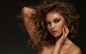 Картинка портрет, взгляд, Sergejs Rahunoks, кудряшки, макияж, девушка