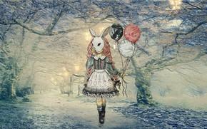 Картинка зима, лес, снег, япония, аниме, сакура, метель, алея, Аниме девушка, девушка в платье, с воздушным …