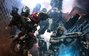 Картинка город, оружие, роботы, Halo 5: Guardians