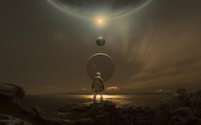 Обои fantasy, science fiction, mountains, sci-fi, planets, digital art, artwork, futuristic, space suit, solar system, Astronaut