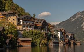 Обои вода, горы, озеро, дома, Австрия, Austria, Hallstatt, Гальштатское озеро, Гальштат, Lake Hallstatt, Халльштатт