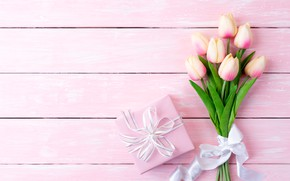 Картинка фон, розовый, подарок, букет, тюльпаны