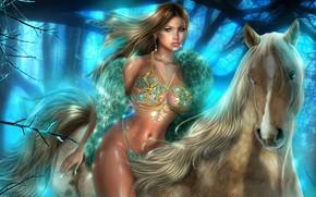 Картинка девушка, лицо, рендеринг, модель, волосы, лошадь, фигура, блондинка