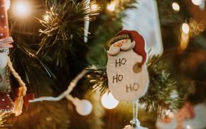Картинка зима, ветки, огни, праздник, игрушка, игрушки, размытие, Рождество, Новый год, ёлка, гирлянда, Санта Клаус, хвоя, …