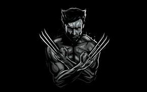 Обои арт, черно-белое, Росомаха, черный фон, Wolverine, Hugh Jackman, Logan, Хью Джекман, комикс, MARVEL