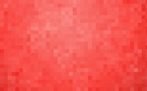 Картинка красный, фон, обои, пиксели, квадрат