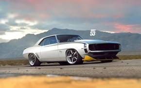 Картинка Авто, Chevrolet, Машина, Серый, 1969, Camaro, Car, Арт, Chevrolet Camaro, Vehicles, Classics, Transport & Vehicles, …
