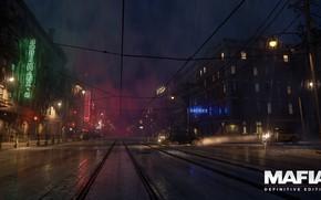 Картинка ночь, city, неон, вывески, ночной город, слякоть, the city of lost heaven, Mafia, Hangar 13, …