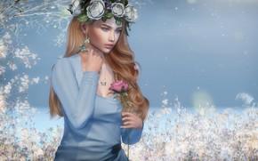 Картинка солнце, цветы, платье, ножки