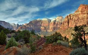 Картинка Небо, Природа, Дорога, Горы, Скалы, Пустыня, Камни, Пейзаж