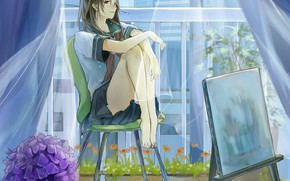 Картинка мокрая, босиком, занавески, школьница, в комнате, на стуле, гортензия, мольберт, у окна, прозрачная ткань, комнатные …