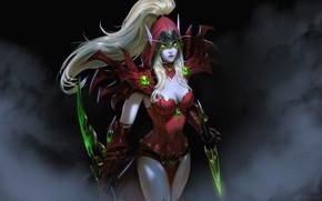 Картинка girl, sword, World of Warcraft, fantasy, game, cleavage, green eyes, weapon, breast, Rogue, elf, digital …