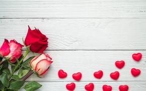 Картинка цветы, розы, букет, сердечки, wood, flowers, beautiful, roses