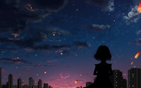 Картинка облака, закат, город, вечер, силуэт, девочка, сердечко