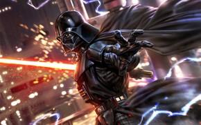 Картинка Star Wars, Меч, Шлем, Молнии, Darth Vader, Сила, Art, Световой Меч, Дарт Вейдер, Concept Art, …