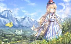 Картинка пейзаж, горы, природа, девочки