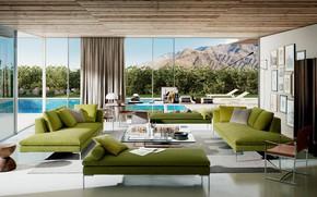 Картинка вилла, интерьер, бассейн, терраса, гостиная, Testata_HP_Charles