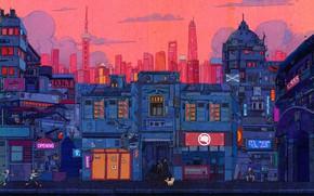 Картинка Авто, Город, Робот, Роботы, Стиль, Здания, City, Fantasy, Архитектура, Art, Style, Фантастика, Cyber, Cyberpunk, Line …