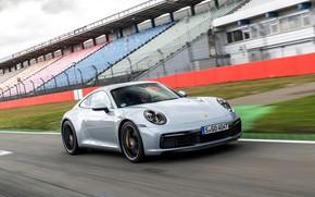 Картинка купе, 911, Porsche, обочина, трибуны, Carrera 4S, 992, 2019
