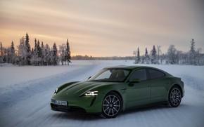 Картинка снег, Porsche, зелёный, на дороге, 2020, Taycan, Taycan 4S