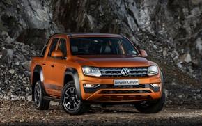 Картинка Volkswagen, пикап, Amarok, Canyon, 2019, у скалы