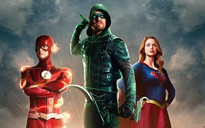 Обои Arrow, Stephen Amell, Oliver Queen, Supergirl, Flash, Barry Allen, The CW Television Network, Melissa Benoist, ...