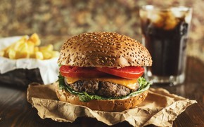 Картинка зелень, бумага, овощи, котлета, булочка, бургер