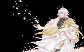 Картинка ночь, лепестки, Мерлин, Fate / Grand Order, Судьба великая кампания