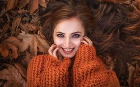 Картинка осень, листья, улыбка, модель, Девушка, лежит, Илона Баимова