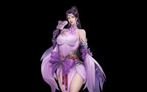 Картинка Girl, Fantasy, Art, Style, Background, Illustration, Dress, Figure, Character, LIU Mingxing