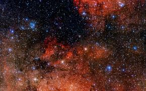Картинка Nebula, Constellation Sagittarius, VLT Survey Telescope, Open star cluster, Messier 18, Star cluster