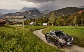 Обои трава, горы, луг, Renault, коричневый, пикап, 4x4, 2017, Alaskan