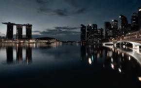 Картинка ночь, город, Singapore, Marina Bay
