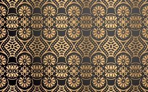 Картинка фон, узор, текстура, орнамент, Vintage, Gold, Floral
