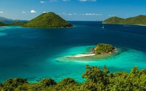 Картинка острова, тропики, океан, побережье, залив