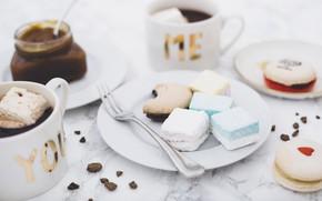 Картинка кофе, чашки, маршмеллоу