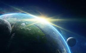 Картинка Солнце, Восход, Звезды, Луна, Планета, Moon, Planets, Space, Блик, Earth, Спутник, Galaxy, Спутники, Environments, Adam ...