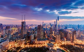 Картинка city, lights, China, Shanghai, twilight, sky, sunset, clouds, buildings, cityscape, skycrapers