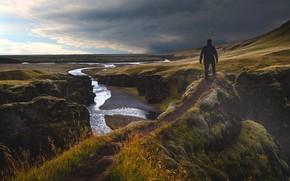 Картинка Природа, Тропинка, Река, Человек, Пейзаж, Исландия, Вершина