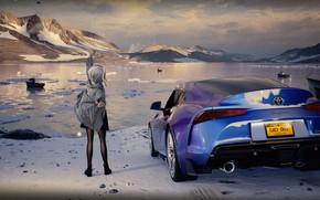 Картинка авто, девушка, снег, горы, озеро, потягивается, by rengreng