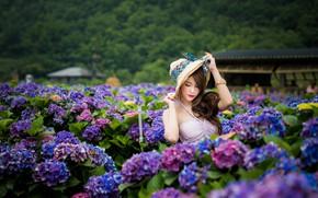 Картинка девушка, цветы, азиатка, милашка