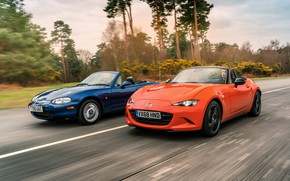 Картинка оранжевый, синий, Mazda, MX-5, родстеры, четвёртое поколение (ND), второе поколение (NB)