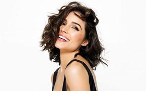 Картинка улыбка, модель, макияж, актриса, прическа, белый фон, шатенка, красотка, Olivia Culpo, Оливия Калпо