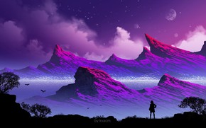 Картинка девушка, горы, силуэт