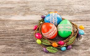 Картинка eggs, happy, Пасха, яйца, Easter, wood, colorful, decoration