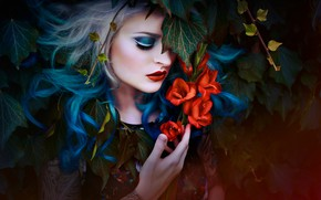 Картинка девушка, цветы, волосы, макияж, Melanie Dietze