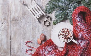 Картинка зима, чашка, горячий шоколад, marshmallows, Valeria Aksakova
