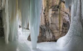 Картинка Канада, Альберта, Национальный парк Джаспер, замерзший водопад